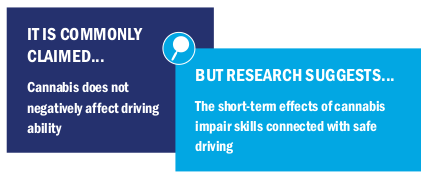 Image test: It is commonly claimed cannabis does not negatively affect driving ability but research suggests the short-term effects of cannabis impair skills connected with safe driving