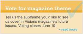 badge promoting visions theme survey
